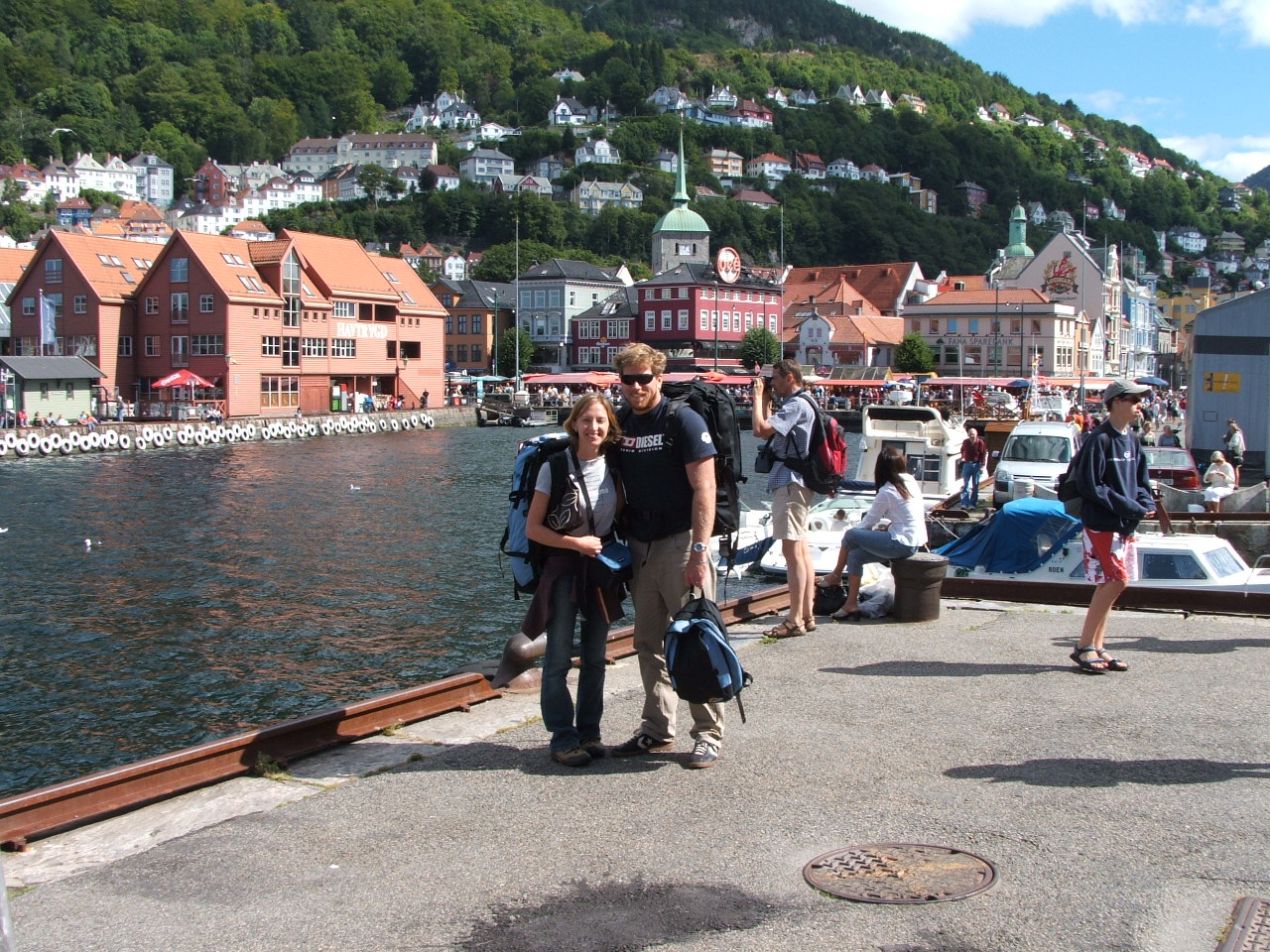 Me (Elissa) and my husband Matt, leaving a piece of our twenty-something hearts in Bergen