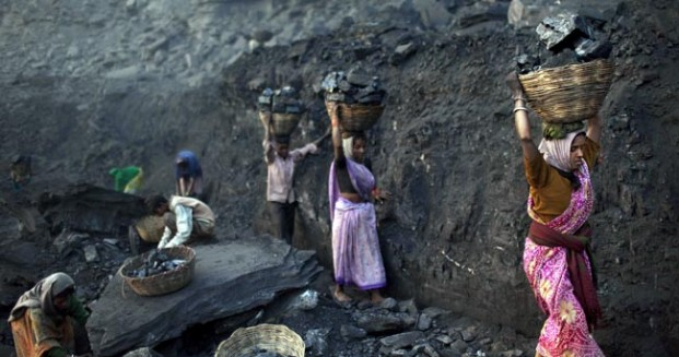 Workers in an Indian Coal Mine. Image via  greatindaba.com