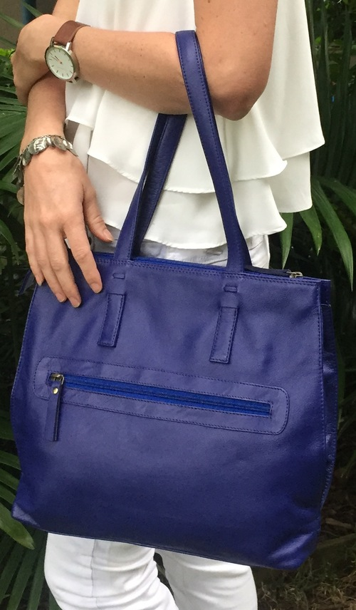 Another winner for Mother's Day! This  blue leather tote  is super stylish but big enough to hold all manner of goods and chatels - and it's 30% off right now.