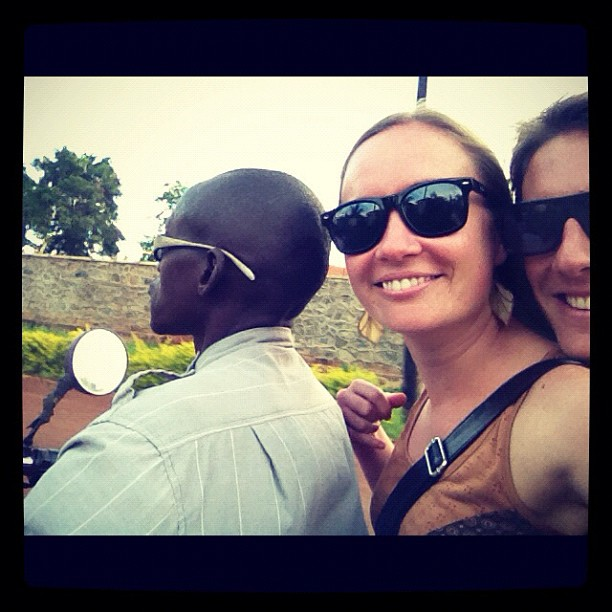 Travelling by boda-boda in Uganda - you literally just jump on the back of someone's motorbike