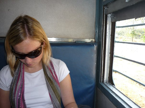 Train travel in Kerala, India.