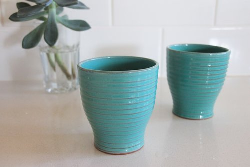 Aqua lines earthenware cups set of two  ,  $36