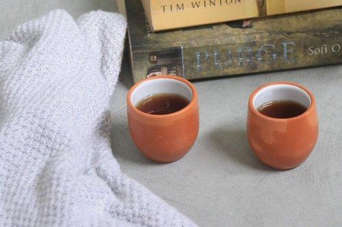 Glazed clay espresso cups set , $42