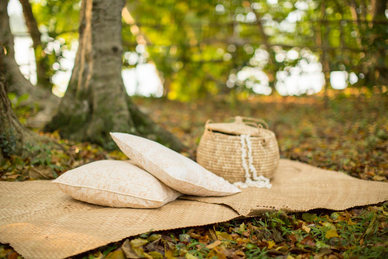 Batik cushion covers in sand