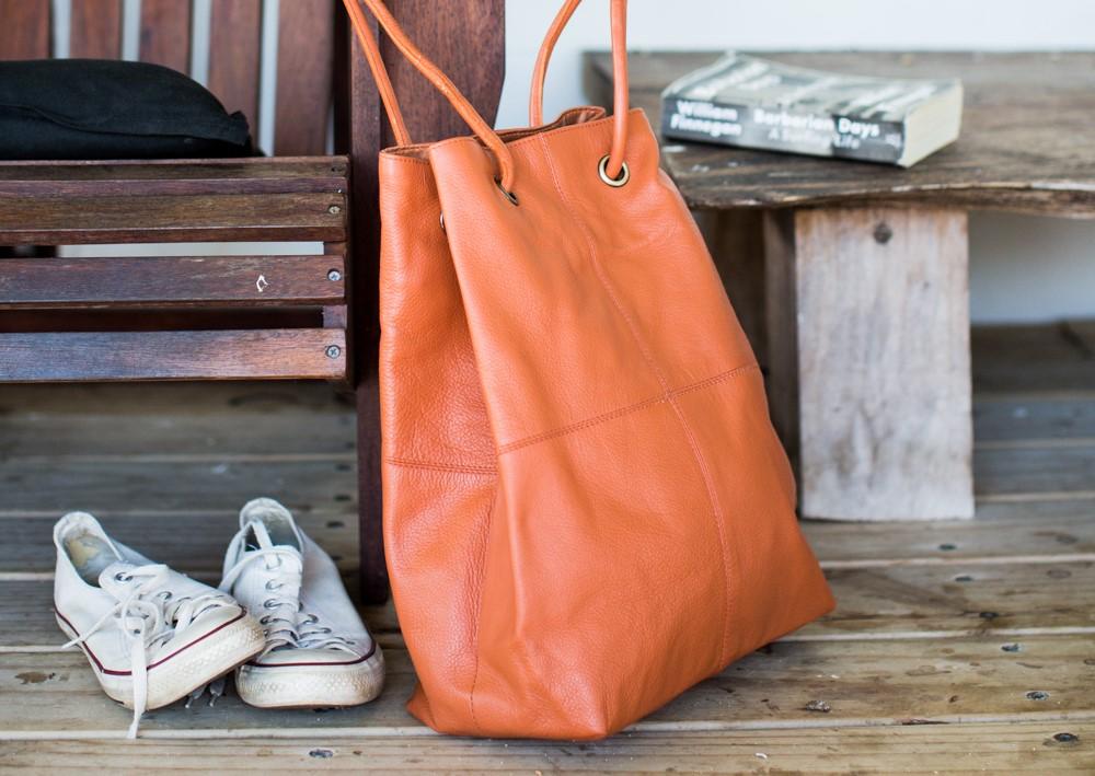 Rust leather drawstring bag