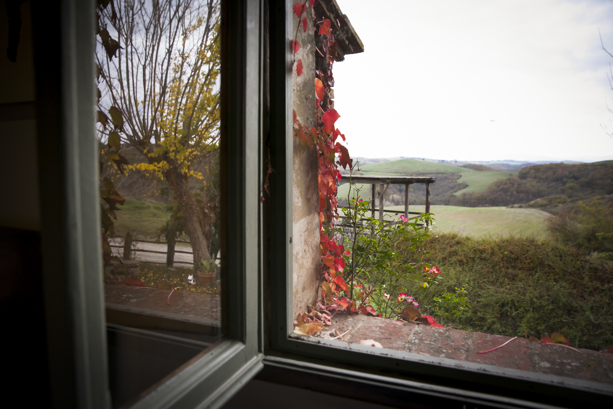 Panorama on Tuscan landscape in autumn from the window of one of the bedrooms in Le Trosce