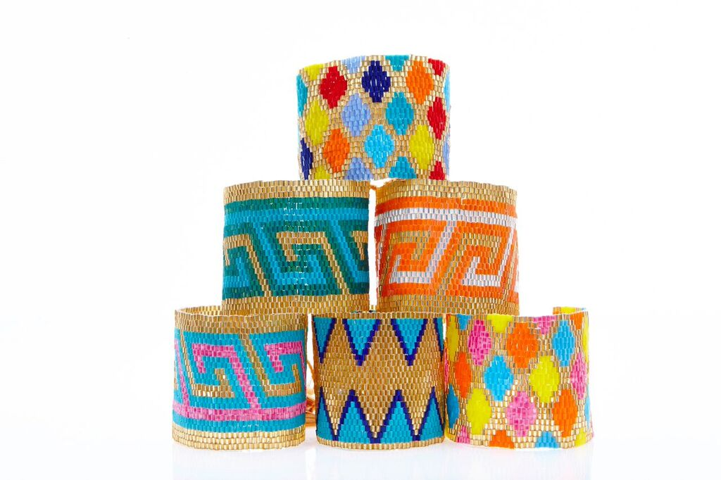 Beaded Cuffs in six colour waves