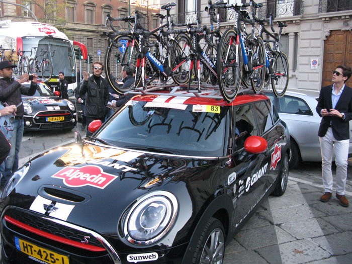 Is this the cutest team car ever? Giant-Alpecin's Mini-Cooper