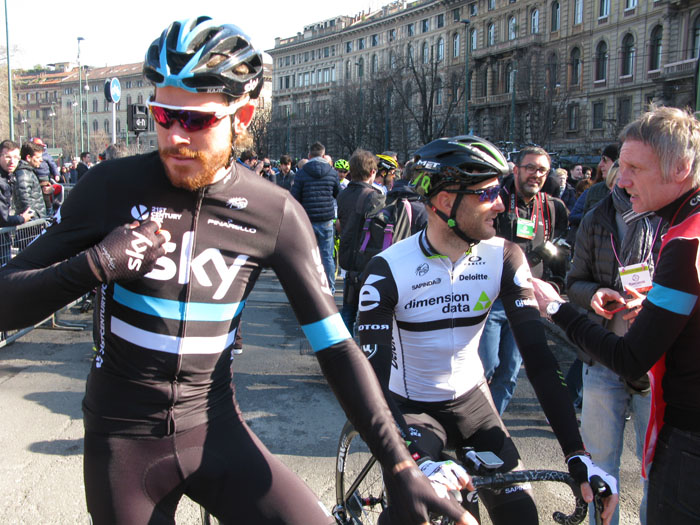 Two Brits in Milano: Luke Rowe (Sky) and Steve Cummings (Dimension Data) relaxed before the start at Milano-Sanremo the latter chatting to Sky photographer Scott Mitchell