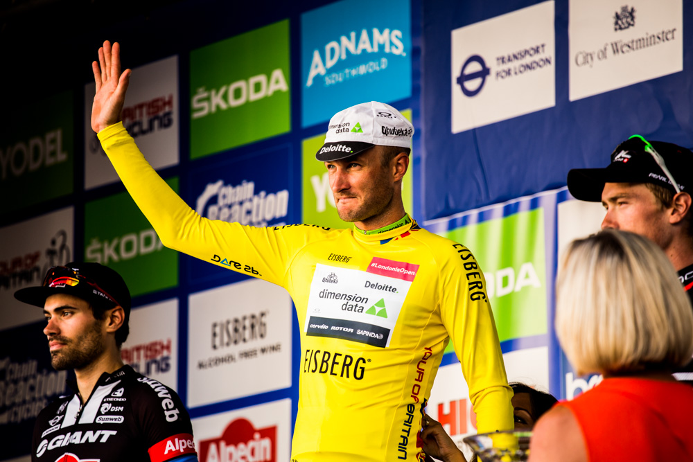 Steve Cummings celebrates overall victory at the 2016 Tour of Britain in London. Pic: Chris Lanaway