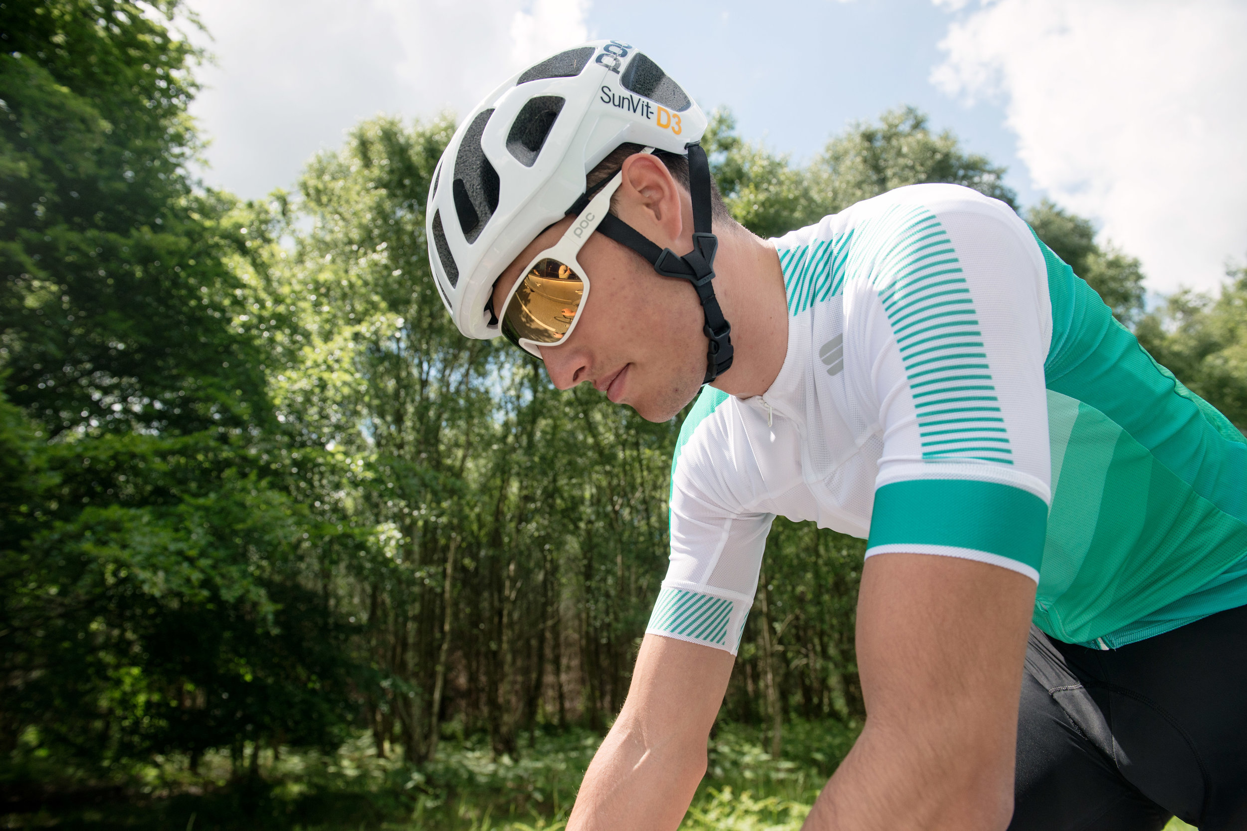 Sportful:  Simple geometric patterns, subtle shades of alpine green, precise race fit