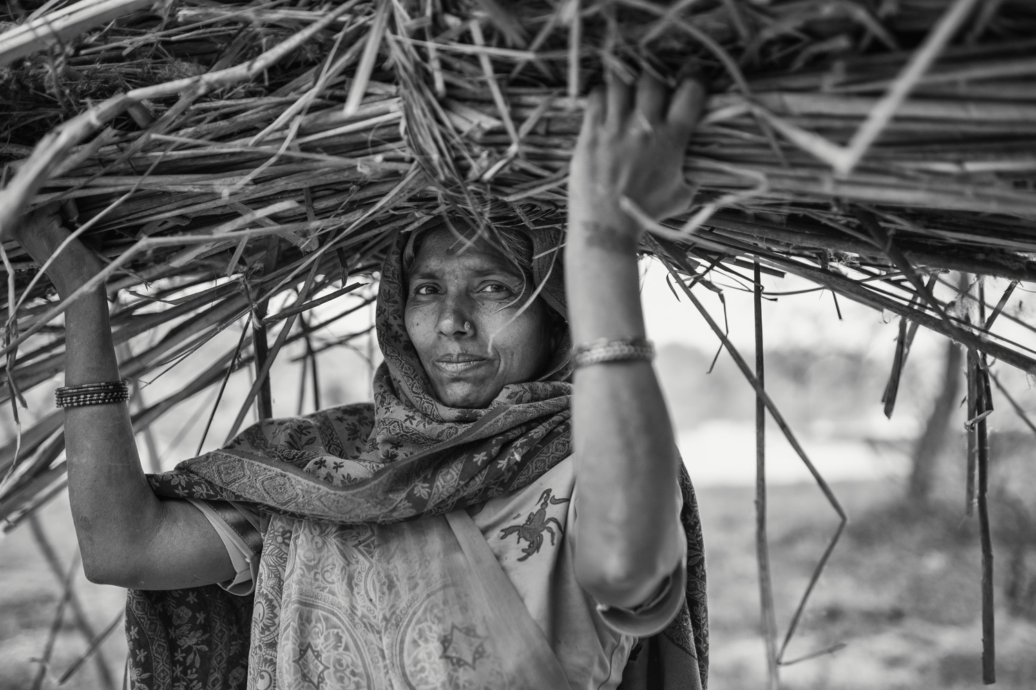 A woman carrying straw through Lumbini (Nepal) Copyright: Daniel Hofmann