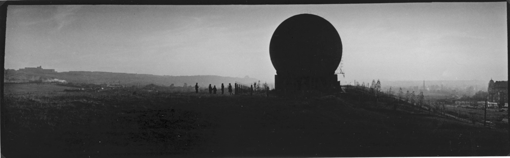 Karlín Gas Tank , 1959. 9 x 29 cm. Courtesy PPF Art a.s., PPF Group's collection of Czechoslovak and Czech photographs, Prague, Czech Republic.