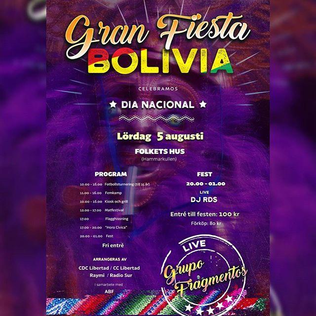 Kom och fira Bolivias national dag med oss i Folkets Hus, Hammarkullen! Det kommer att finnas allt från goda bolivianska maträtter, dans och mycket mer! Välkomna.