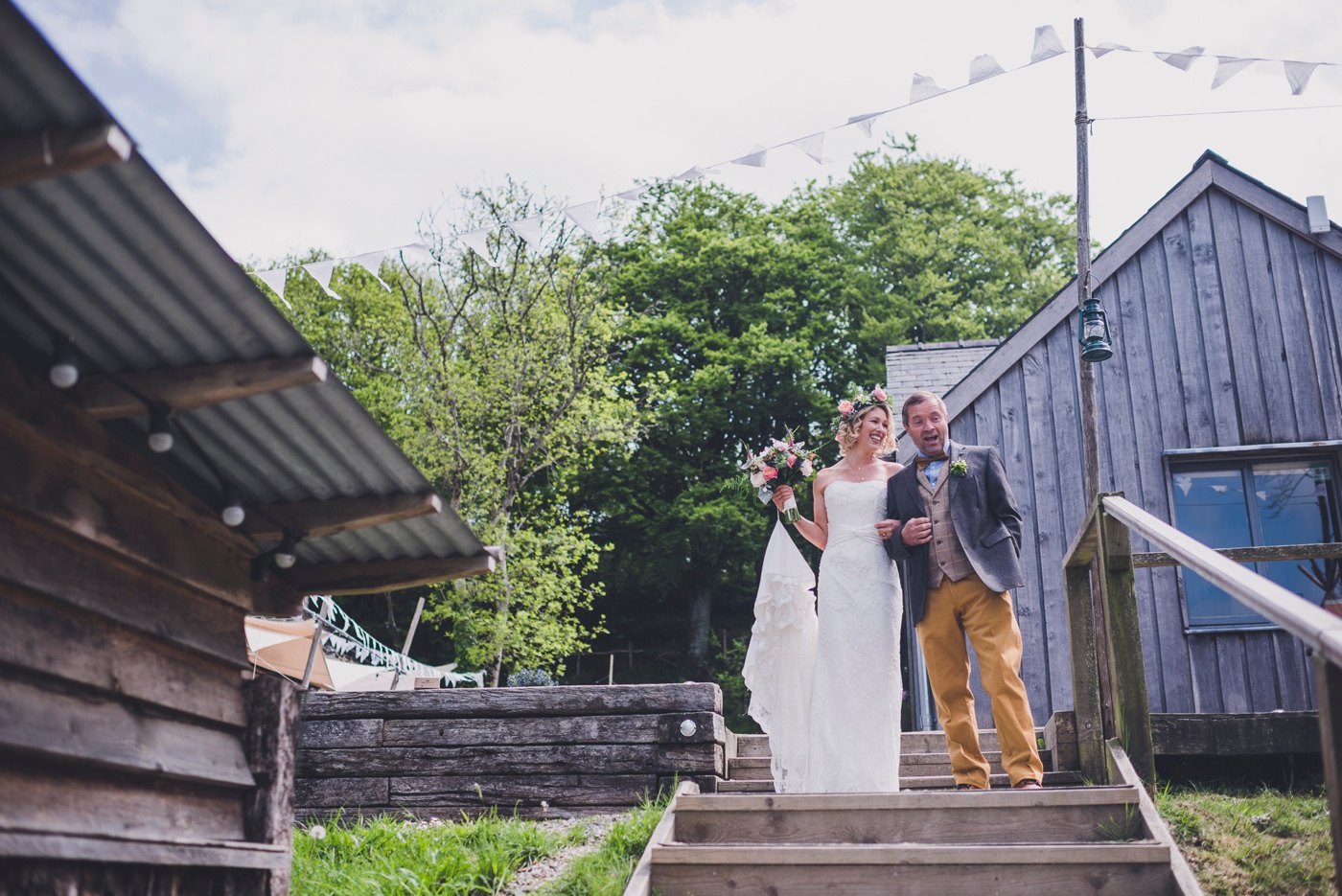 Outdoor wedding ceremony Fforest Wales
