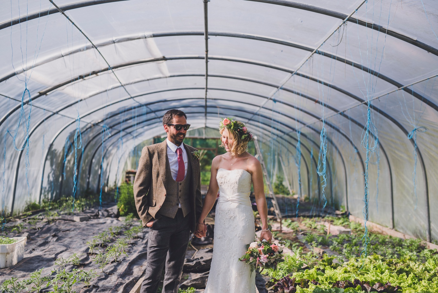 Greenhouse couple portraits Fforest wedding