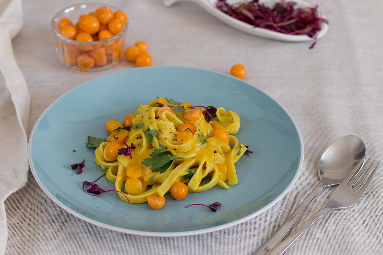 Goosberry Dijon Mustard pasta with basil and turmeric