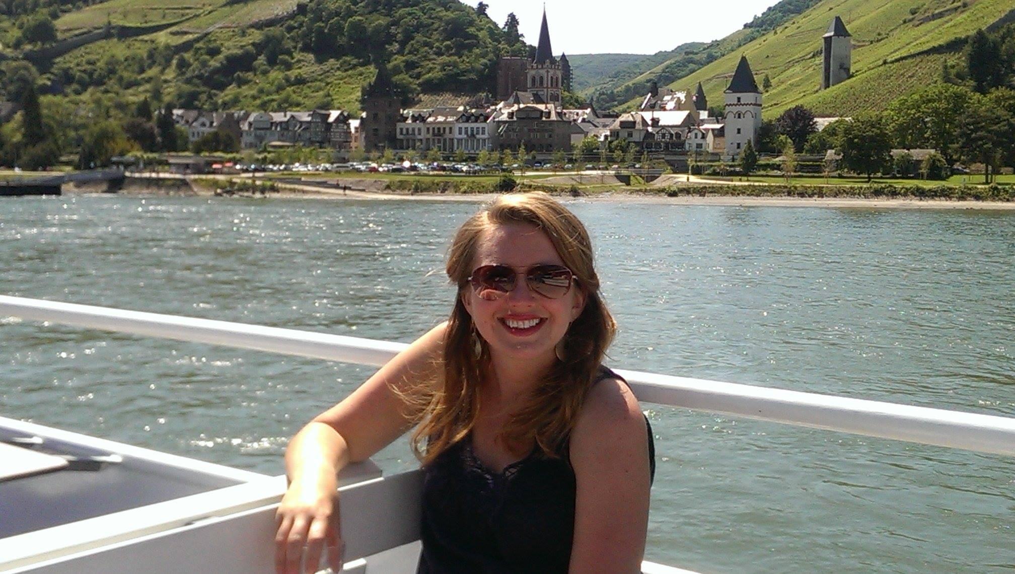 Ericka enjoying a cruise on the Rhine River in Germany.