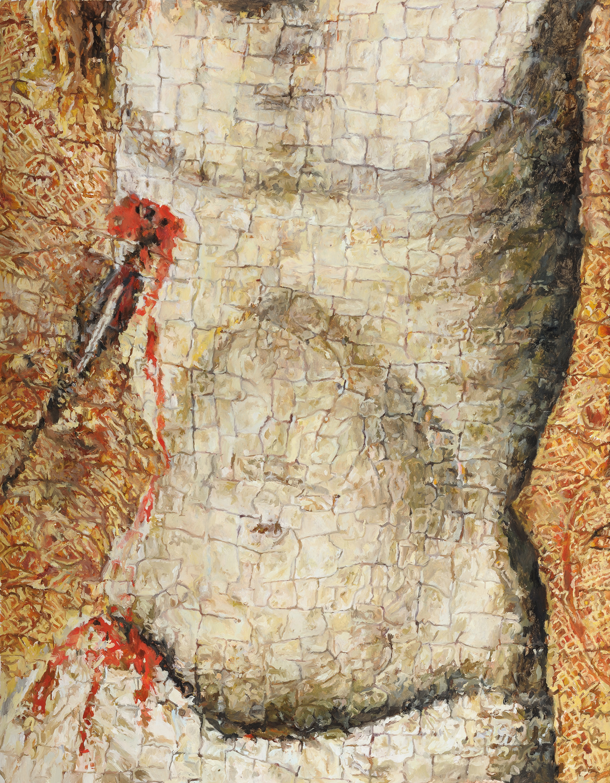 Detail, belly, (Vitale da Bologna, Crucifixion) 2010