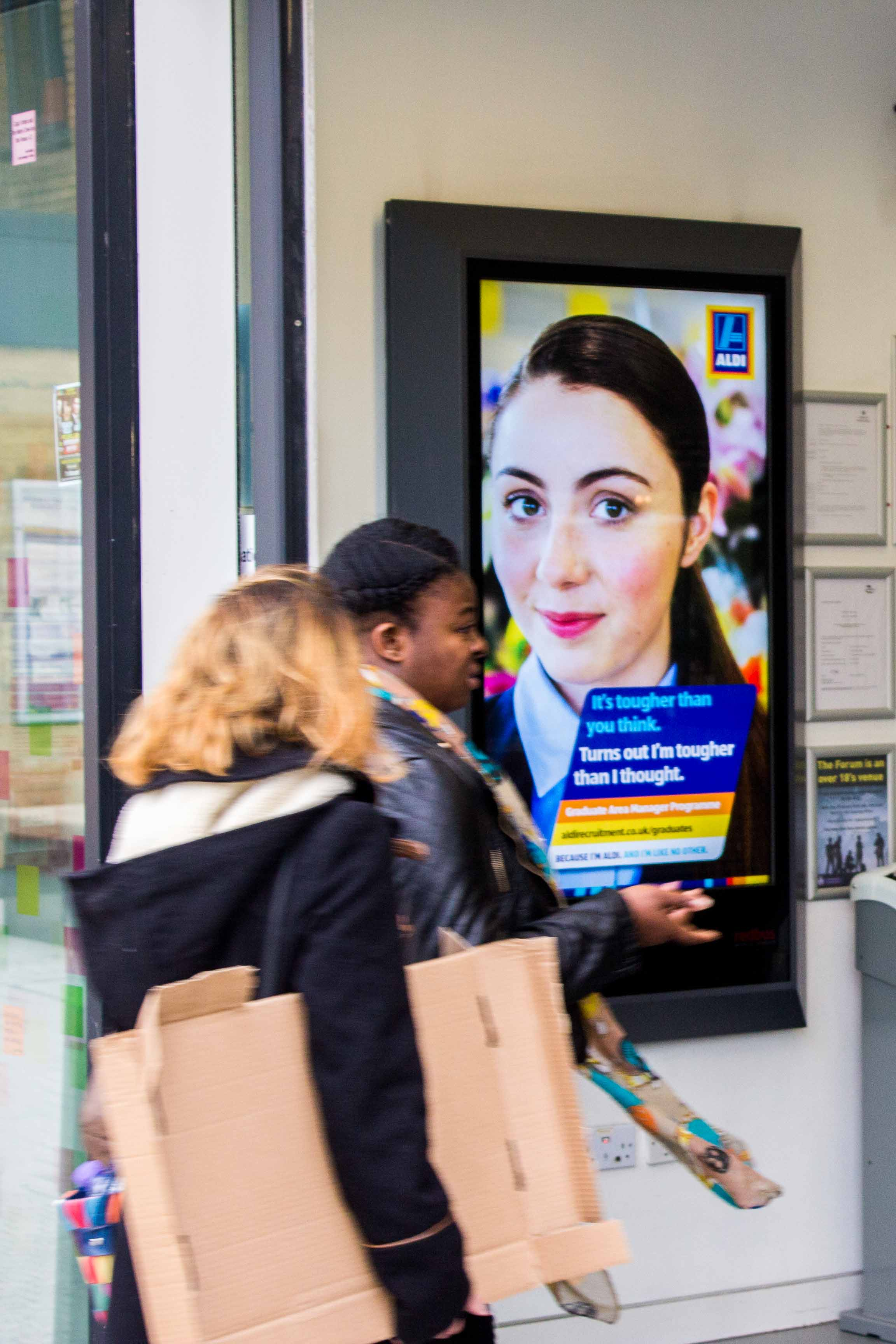 Aldi   Aldi ran tactical bursts of activity throughout the academic year to raise awareness of their graduate recruitment programme to university students.          Click above to see more.