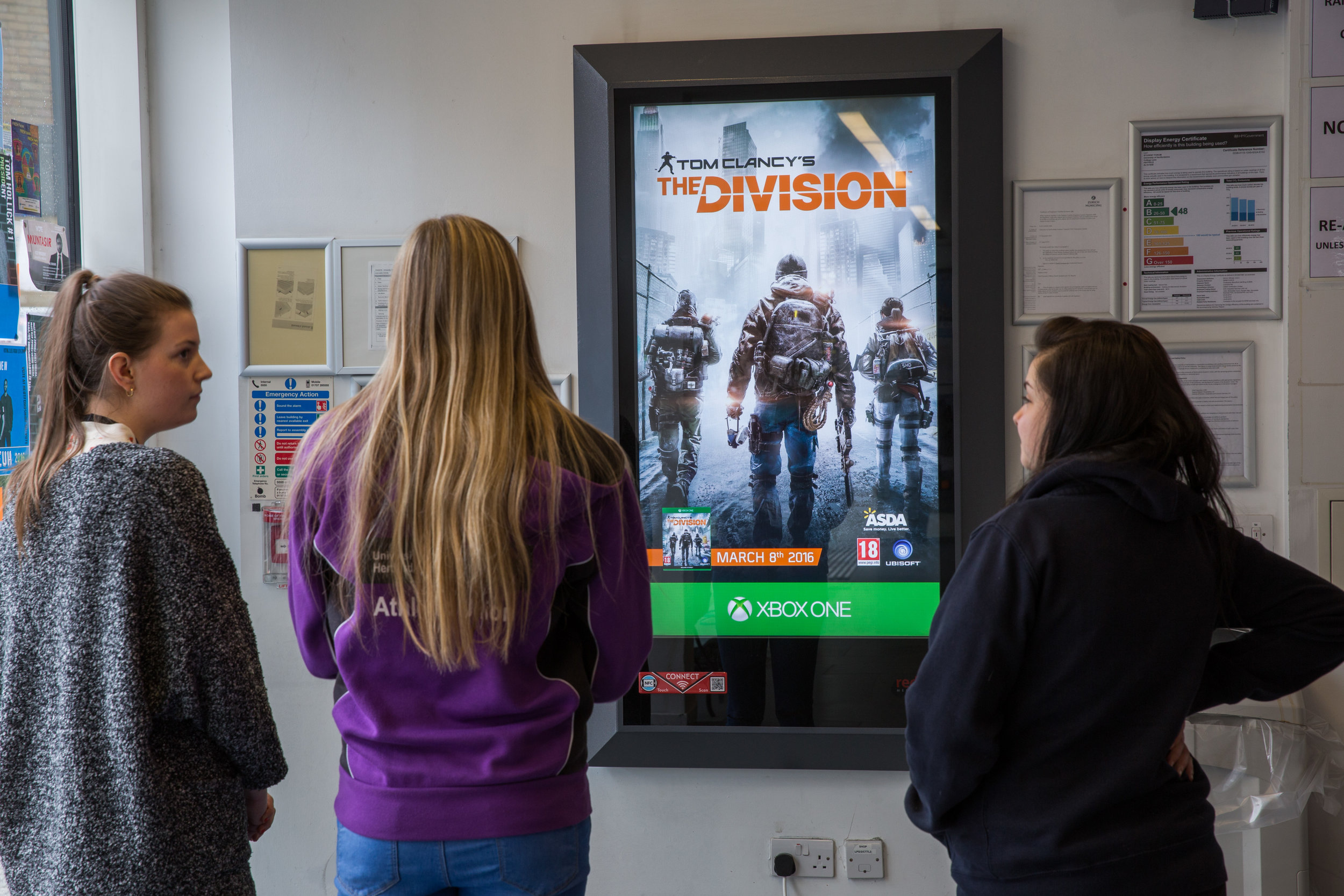 Ubisoft   Ubisoft ran a campaign for Tom Clancy's The Division across our national on-campus D6 network to reach a youth audience in the first week of the game's launch. Click above to see more.