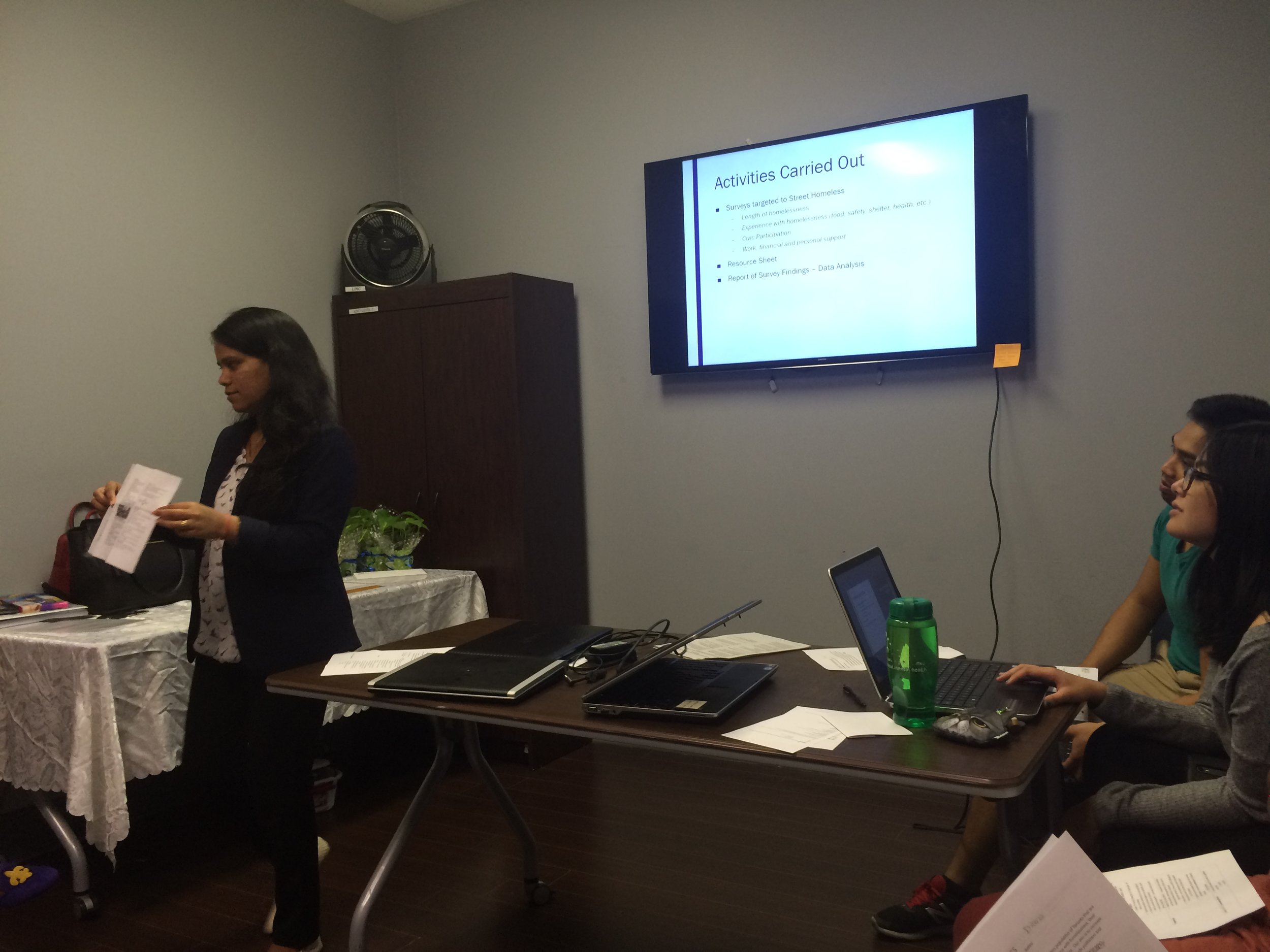 Archana (left) during a presentation