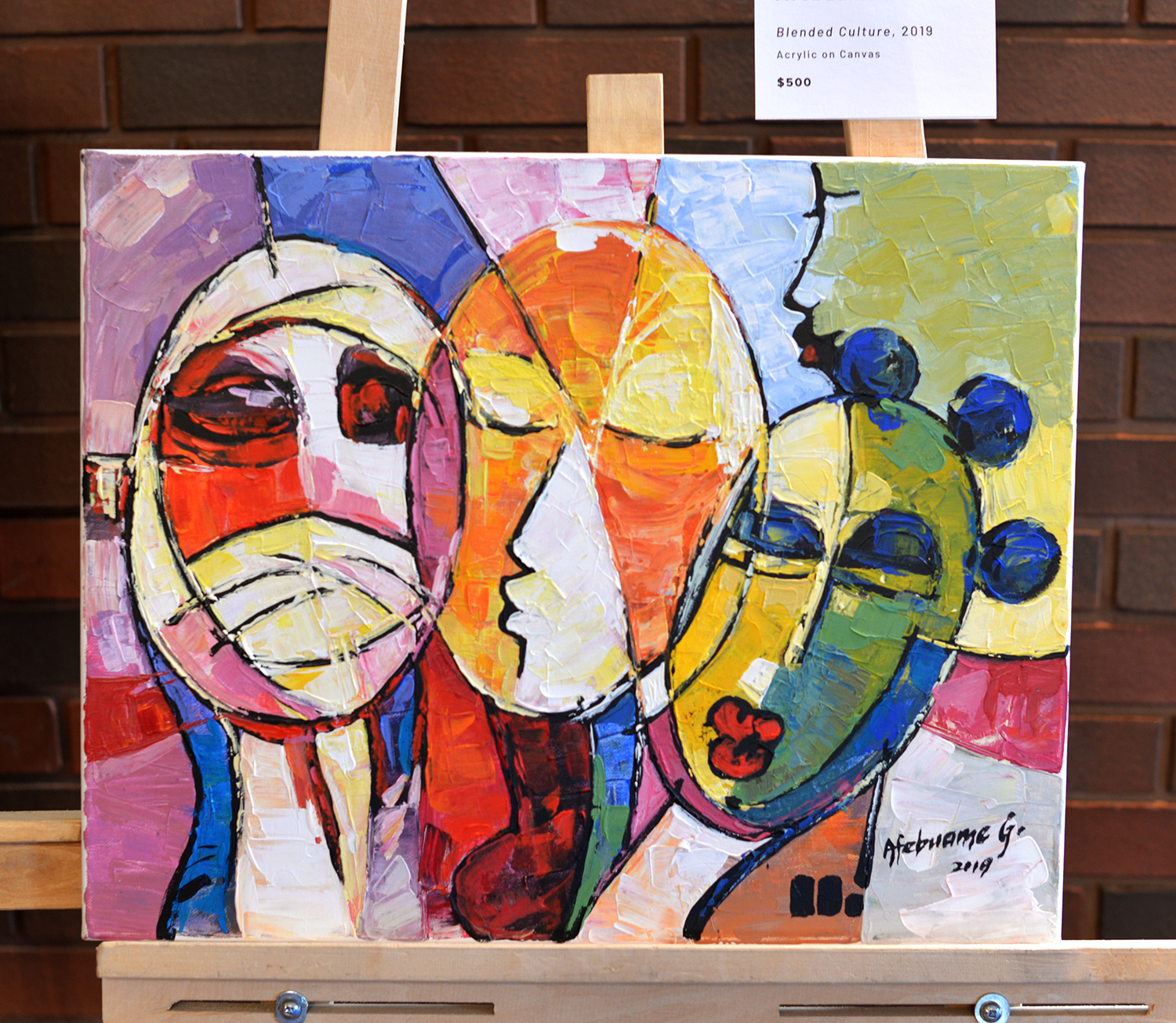 Blended Culture, 2019. Acrylic on Canvas by Afebuame Godfrey. Picture by Rommel Asuncion