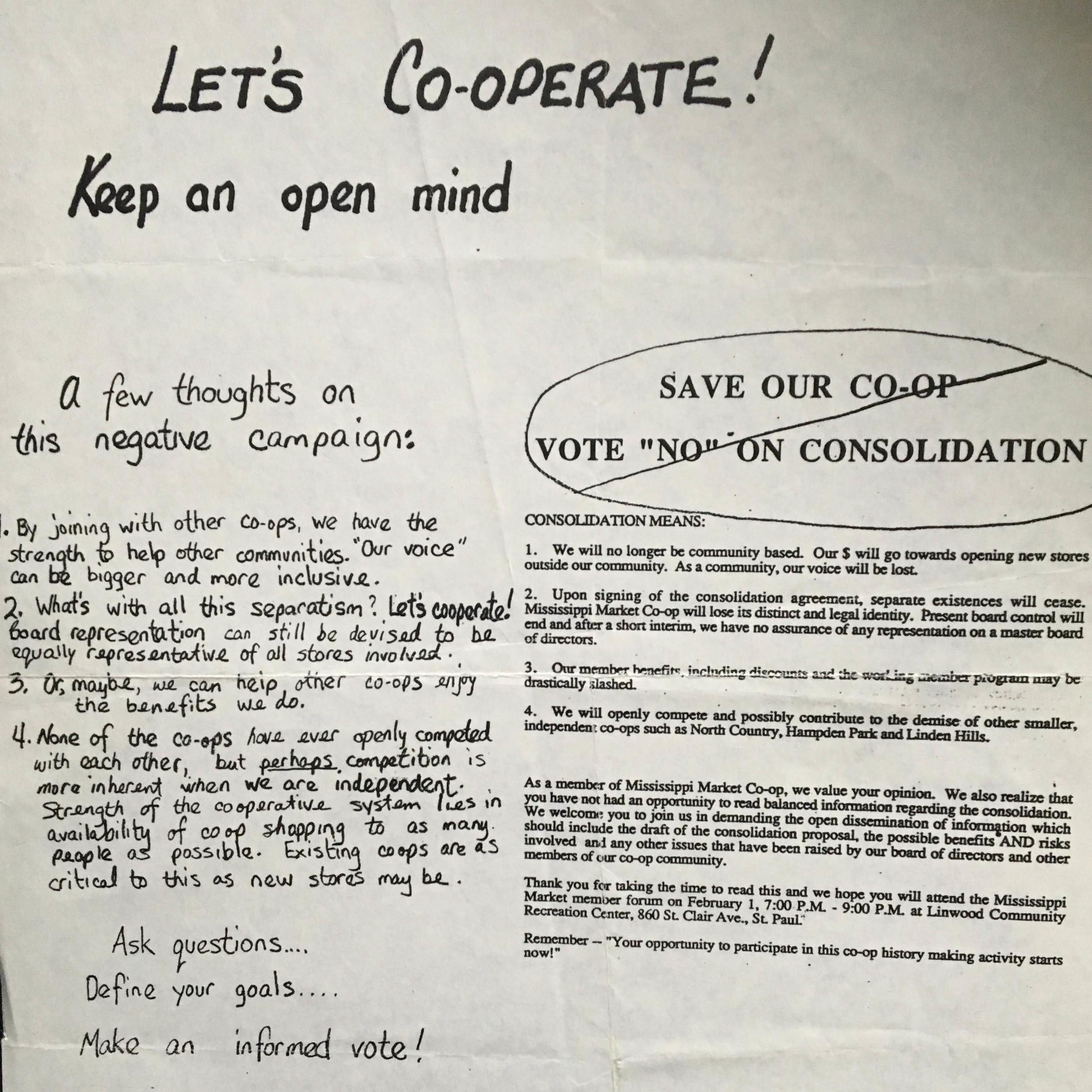 Mississippi Market member and worker Barb Tholin's argument for the 1993 merger proposal.