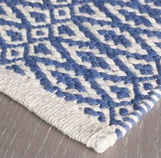 FEATURES & BENEFITS: Durable construction; soft underfoot; lightweight, low profile, and often reversible.  WHERE TO USE: High- and low-traffic spaces; well-used family areas like hallways, bedrooms, and stairs.  HOW IT'S MADE: Cotton yarns make up the warp and weft of these hand-woven, basic-loom-weave rugs. Stripes and pattern run the length or width of the rug.  CARE: •  Regular vacuuming and the occasional gentle shake will keep these rugs looking their best. •  As woven rugs settle, a stray piece of yarn may pop up. This is perfectly normal. Do not cut the yarn; simply tuck and pull it back through the underside of the rug. •  Small rugs may be hand washed gently in cold water; professional cleaning is recommended for larger area rugs. •  Do not machine wash, bleach or tumble dry.