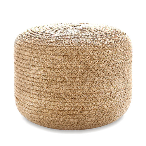 Add a dash of organic texture to your favorite spaces with this braided rope pouf. Made of durable, eco-friendly recycled polyester (PET), it's ideal for extra, space-saving seating, as an ottoman, or as an accent table.