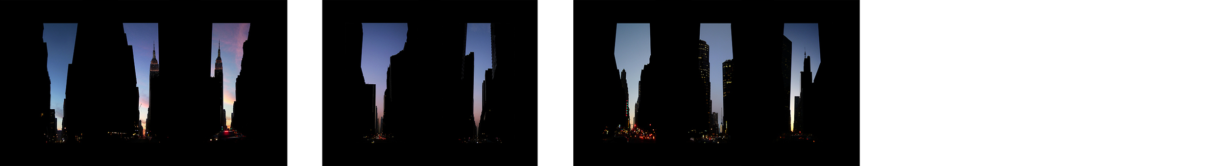 """32nd, 33rd, 34th; 57th, 58th; 2nd Ave, 3rd Ave and 53rdStreet   , 8c-prints 7 x 5"""" each, 2004"""
