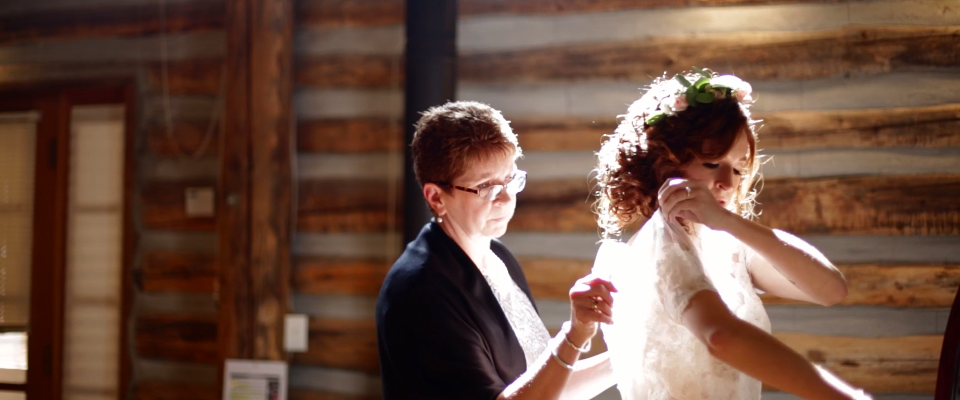 The light was so beautiful while Danielle put her dress on.