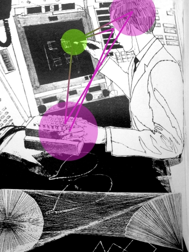 An artistic rendering of early human-computer cognition inspired from the Computer-Aided Design project at MIT, early 1960s.