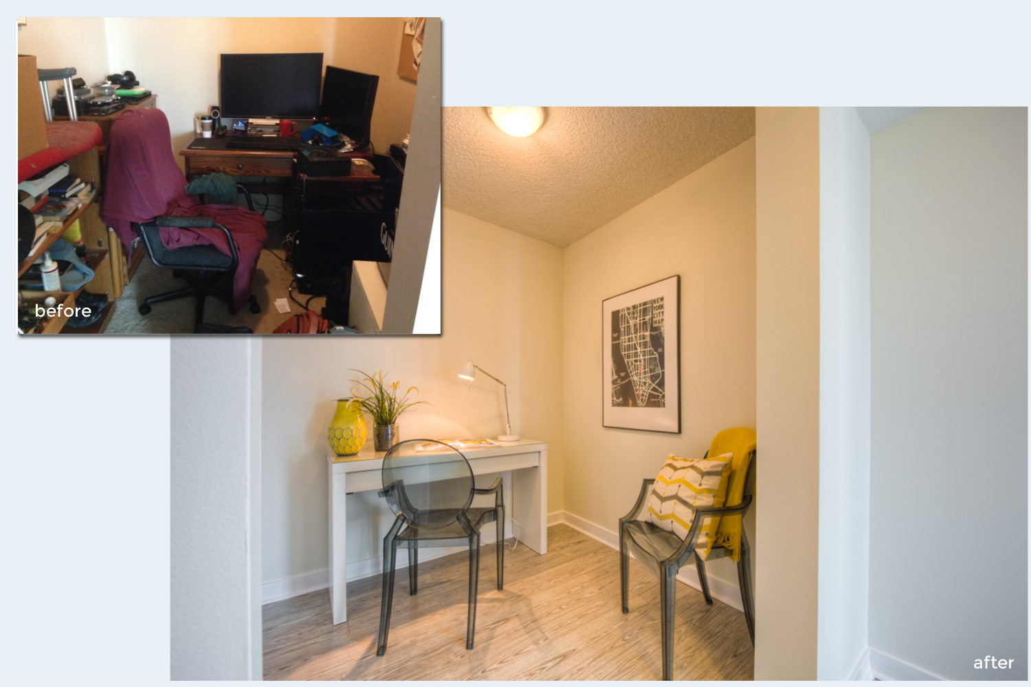Condo staging before-and-after | office