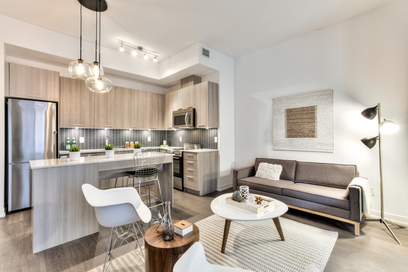 Living Area & Kitchen - Condo Real Estate Staging
