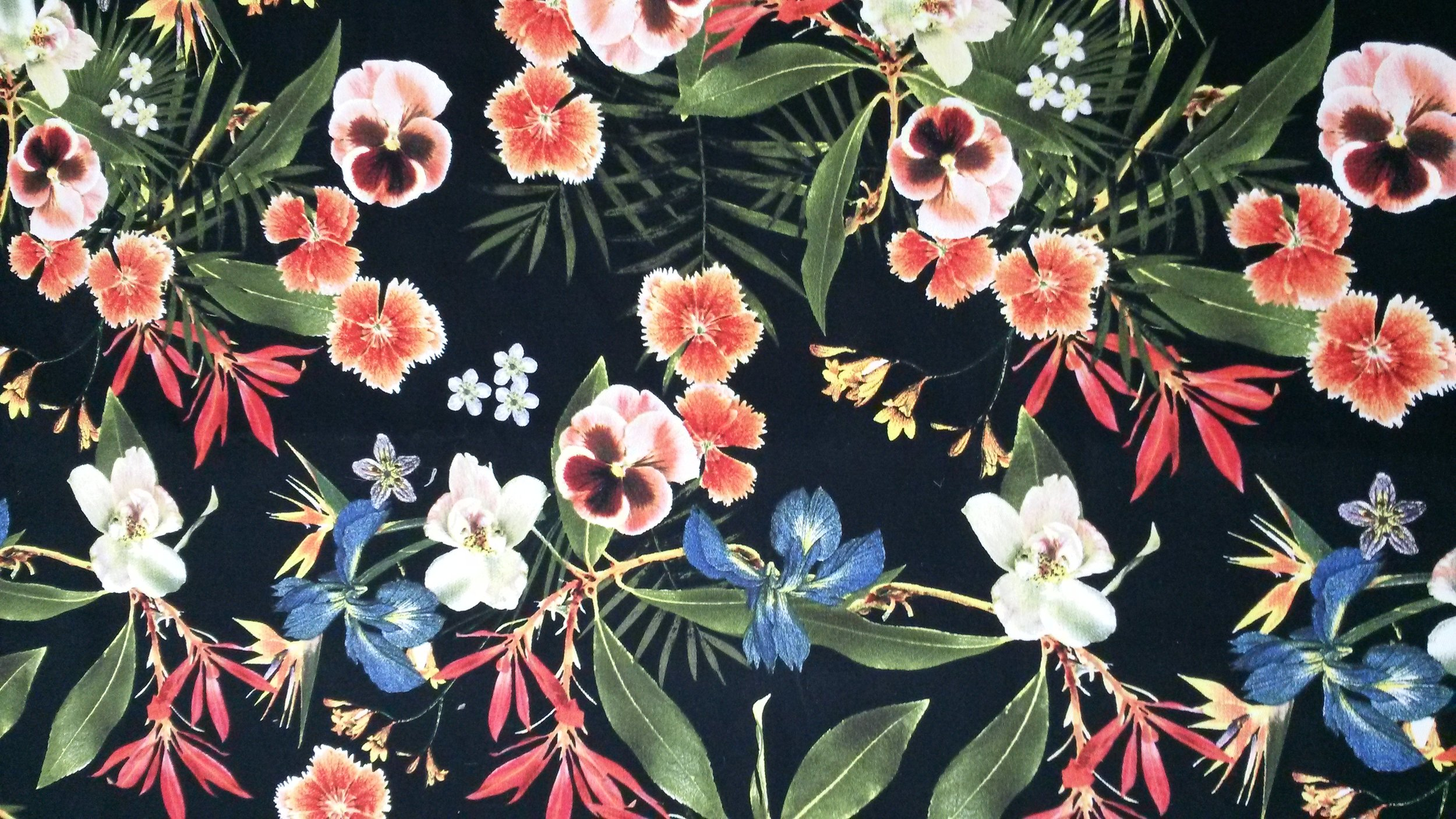 KCL-IDESIGN, LLC - Multicolored Tropical Flowers on Black JOANN Fabric