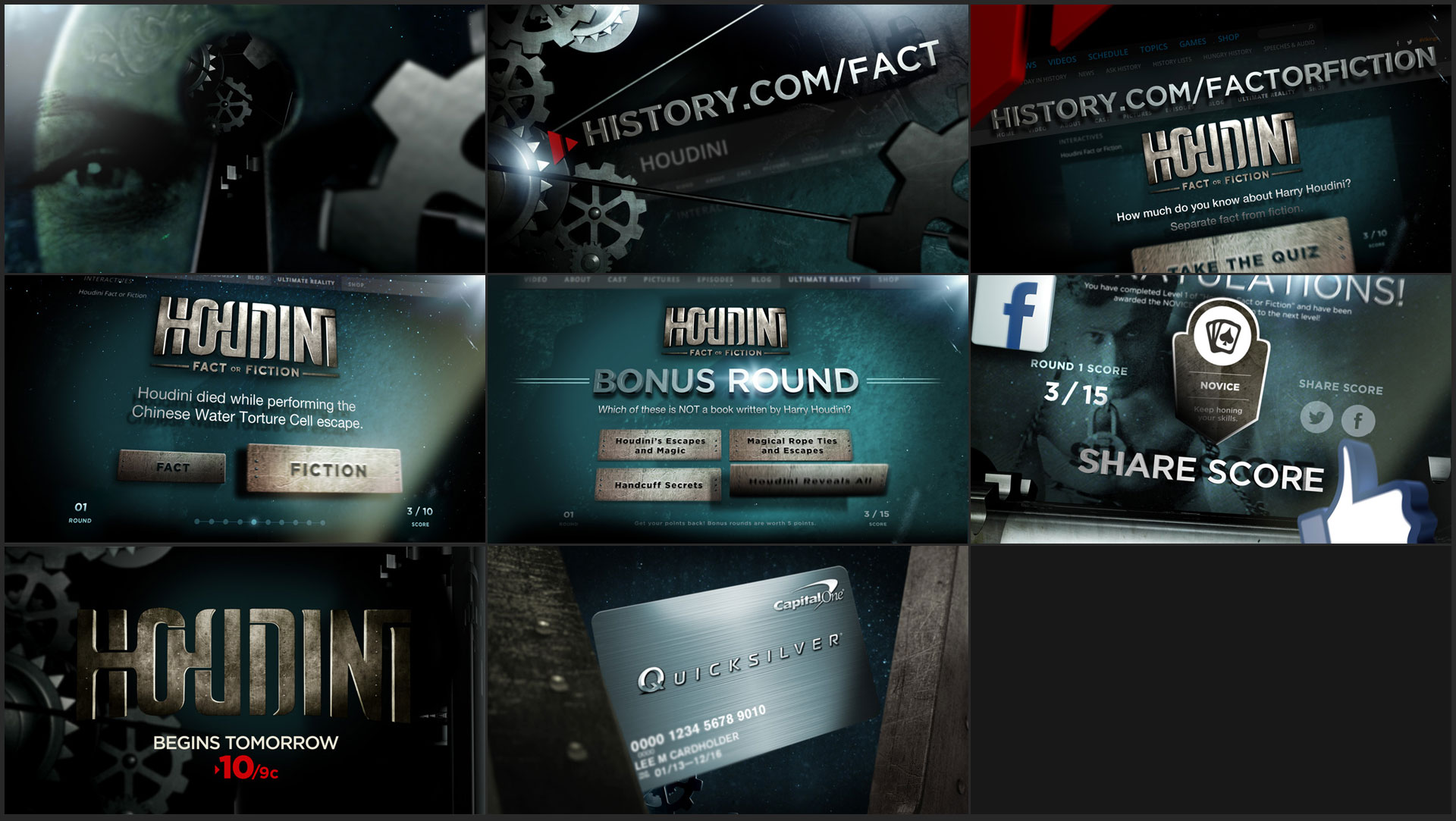 HOUDINI: FACT OR FICTION CLIENT:  PRODUCED AT  GUESTSTAR for THE HISTORY CHANNEL ART DIRECTOR: CURT NEUMANN  A design for a spot promoting the HC Original movie, Houdini and inviting the viewer to participate in a Fact or Fiction quiz.