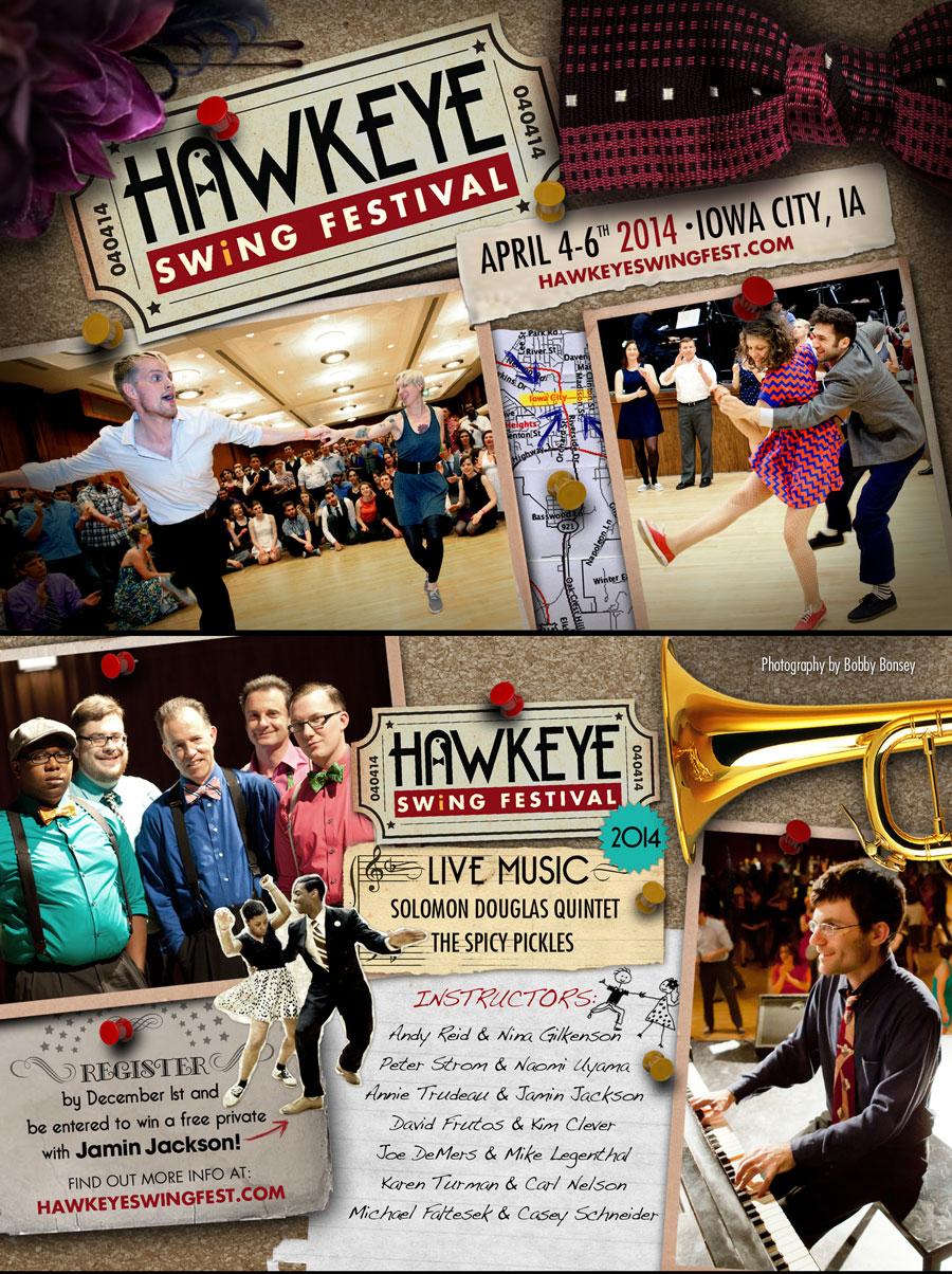 HAWKEYE SWING FESTIVAL FLYER: FRONT & BACK
