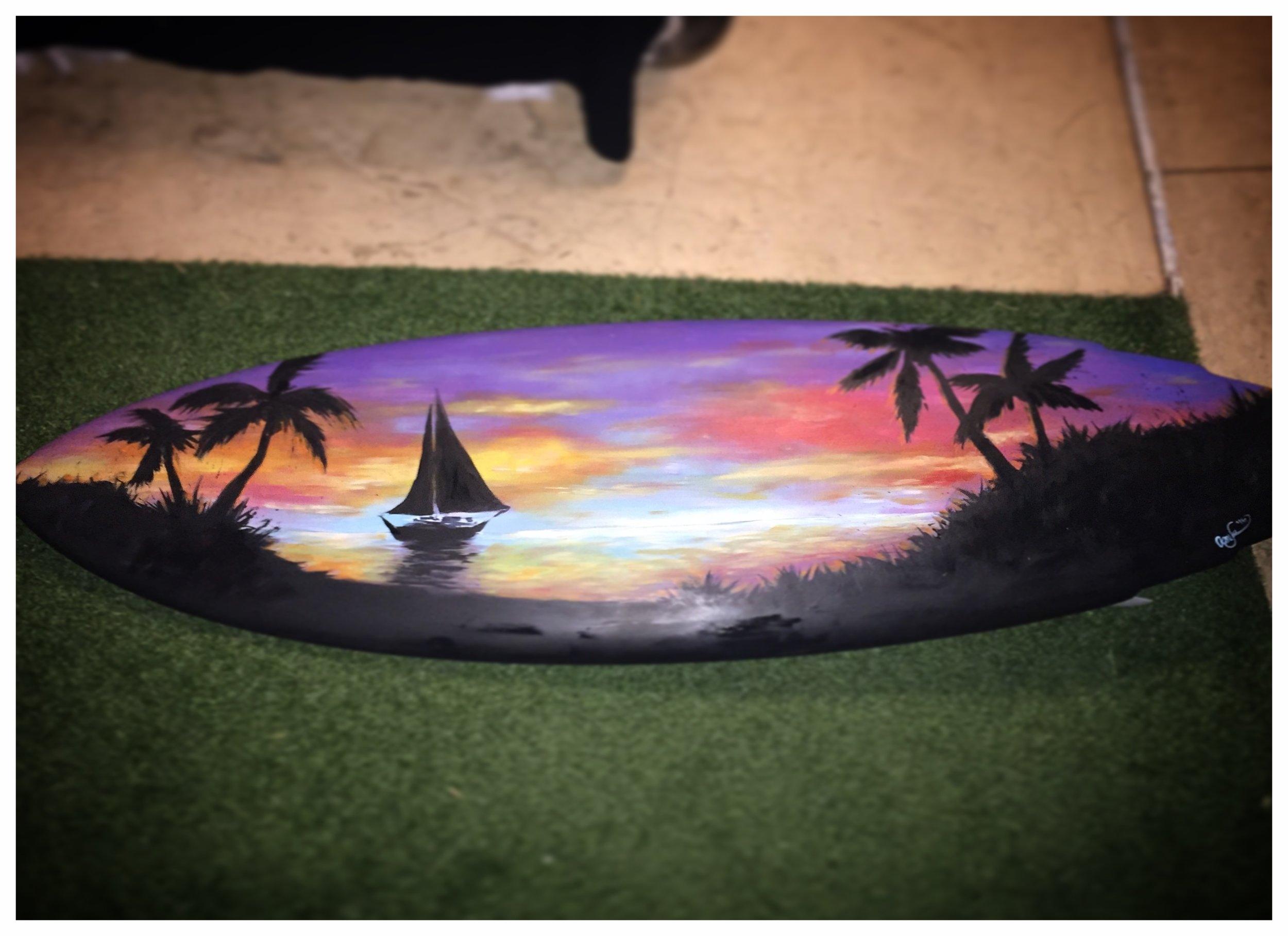 Acrylic on a Surfboard