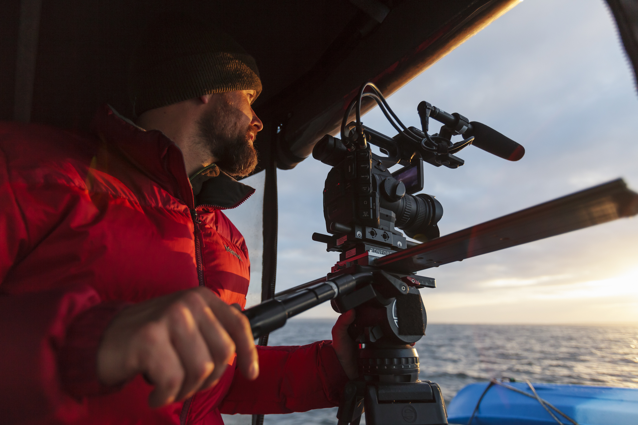 """On Location on our way to Clark Island, WA for Seattle's Columbia Tower Film """"Just Go"""", Photo by  Brandon Sawaya"""