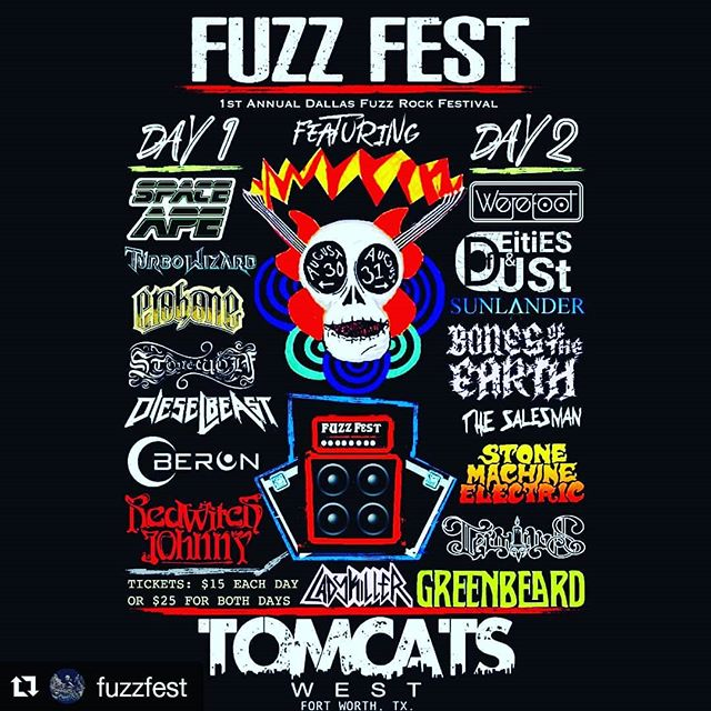 FUZZ FEST 2019 has now been moved to @tomcatswesttx in Fort Worth! DFW's 1st annual Fuzz Rock Festival featuring 2 days of awesome music with over 15 killer bands! We'll be kicking off night 1 on August 30th! Follow @fuzzfest for all updates & info! #fuzzfest2019 #tomcatswest #fortworth #heavyjams #spaceape