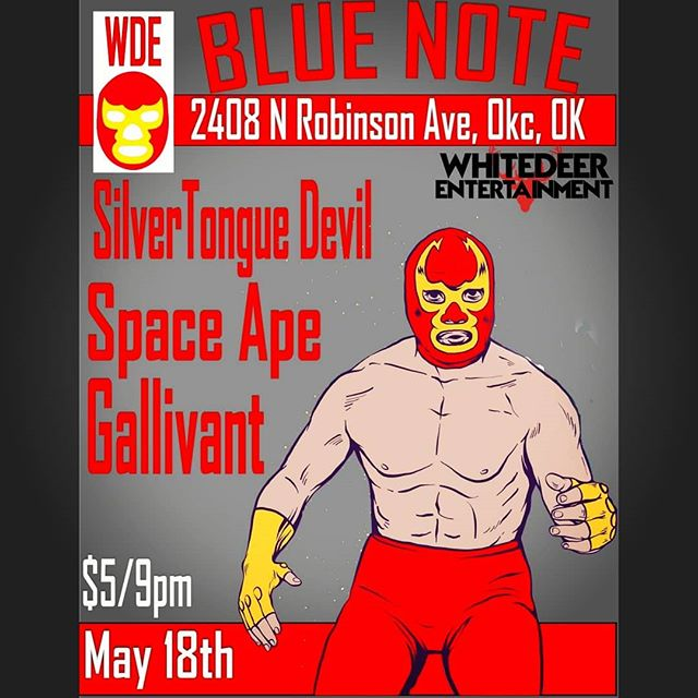 Our next show will be at @blue_note_okc W/ SilverTongueDevil & Gallivant! $5 Admission, Showtime 9pm!  #bluenotelounge #okc #oklahoma #spaceape #silvertonguedevil #whitedeerentertainment