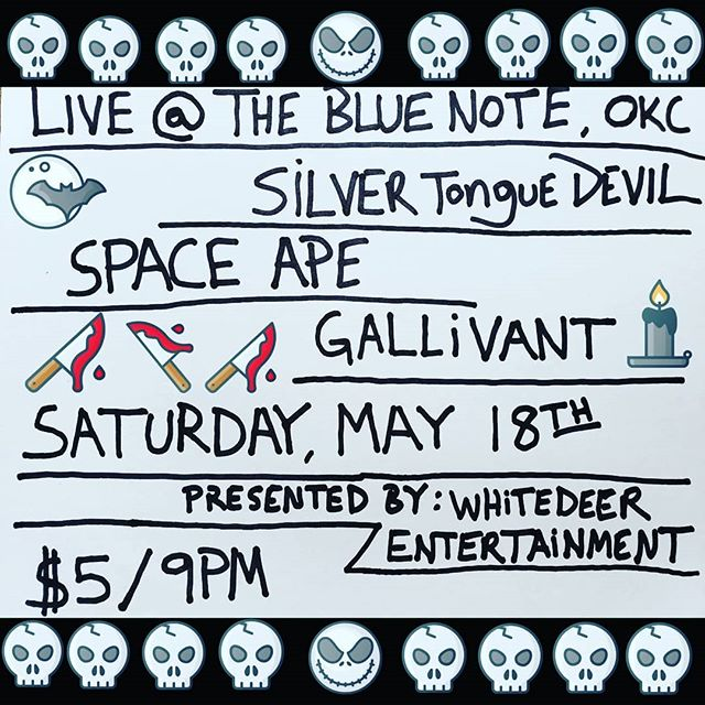TOMORROW NIGHT @blue_note_okc we'll be playing with our friends Silver Tongue Devil & Gallivant! Showtime 9pm, $5 admission. Presented by Whitedeer Entertainment #bluenoteokc #oklahomacity #silvertonguedevil #spaceape #gallivant #whitedeerentertainment
