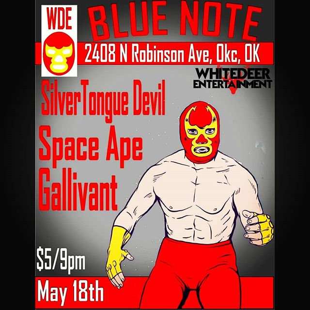TONIGHT We're in Oklahoma City W/ Silver Tongue Devil & Gallivant LIVE at @blue_note_okc Showtime 9pm, $5 admission. Presented by: Whitedeer Entertainment #bluenoteokc #oklahomacity #spaceape #silvertonguedevil #gallivant