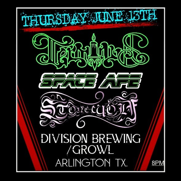 Our next show will be Thursday, June 13th at @divisionbrewing / @growlrecords in Arlington, TX supporting our friends @terminusrocks & Stone Wolf (@stonewolfhowls ) Showtime 8pm. #terminus #stonewolf #spaceape #divisionbrewing #growlrecords #arlingtontx #heavyrock #stonerdoom #loud #recordstore #comicbooks #brews #liveshow