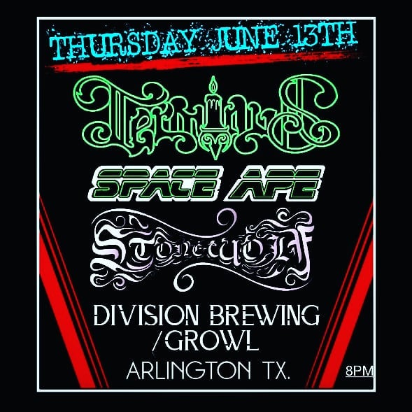 TONIGHT we're back at @divisionbrewing / @growlrecords in Arlington, TX. W/ Stone Wolf & Terminus! Showtime 8pm! #terminus #stonewolf #spaceape #divisionbrewing #growlrecords #brews #records #comics #heavy #loud #liveshow