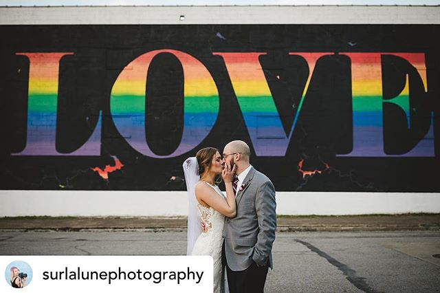 So in 💕 with this pic! #bennyandthejess Posted @withrepost • @surlalunephotography 𝒾𝓈 𝒶𝓁𝓁 𝓎𝑜𝓊 𝓃𝑒𝑒𝒹. ❤️🧡💛💚💙💜 • • • I also love that these two got married at an LGBTQ inclusive church. 🌈 • • • I also also love that they ended their wedding celebration at Play Dance bar 🌈🌈 • • • #surlalunephotography #surlalune #louisville #butchertown #thepointe #love #loveisallyouneed #thebeatles #consciouswedding #apwwedding #indiewedding #muchlove_ig #thatsdarling #lookslikefilm #weddinginspo #weddingplanning #kentuckyweddingphotographer #photographer #photogwilltravel #makersgonnamake #uniquewedding #industrialwedding #citywedding #justmarried #makersmovement #streetart