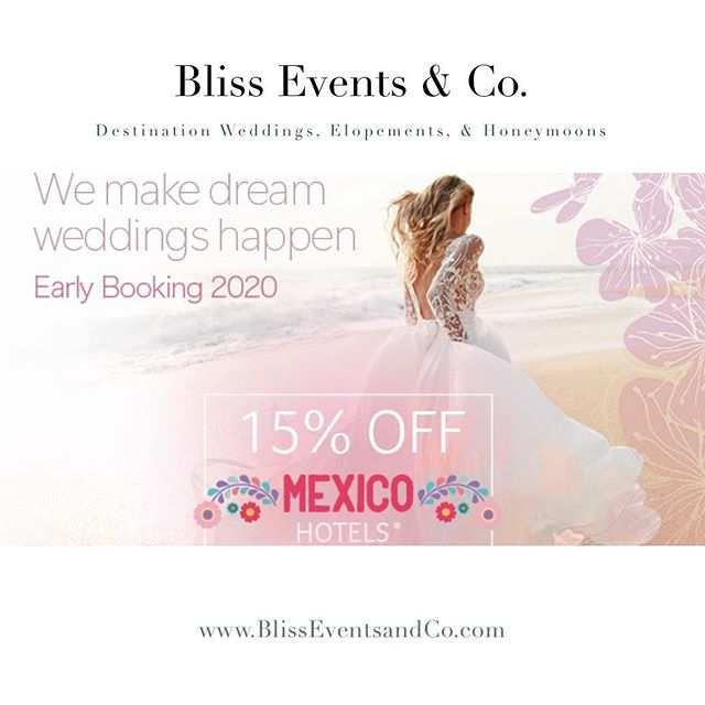 Happy #traveltuesday ✈️ We came across this Mexico deal and had to share! Our travel services are complimentary. 💕 we have visited most of the resorts in Mexico and can give you first hand knowledge to begin planning your #destinationwedding Visit the link in our bio and let's schedule a time to chat! #travel #mexicowedding #destinationelopement #destinationweddingplanner #happytuesday