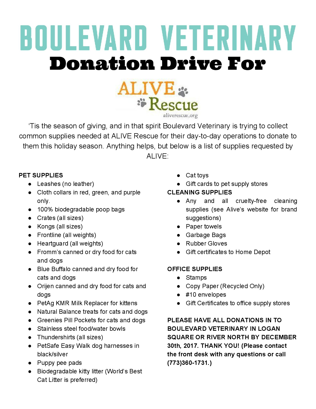 BLVD Vet  ALIVE RESCUE Donation Drive