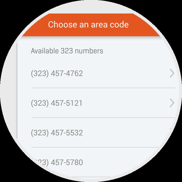 Choose an area code screen
